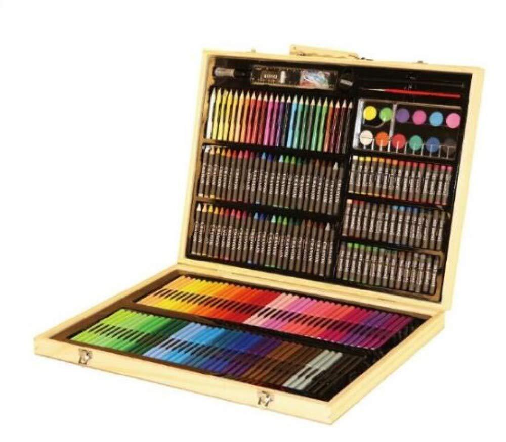 HQYDBB Kids Premium Art Set, Set da Pittura per Bambini in Scatola di Legno 245, Penna Acquerello, Combinazione Pastello per cancelleria
