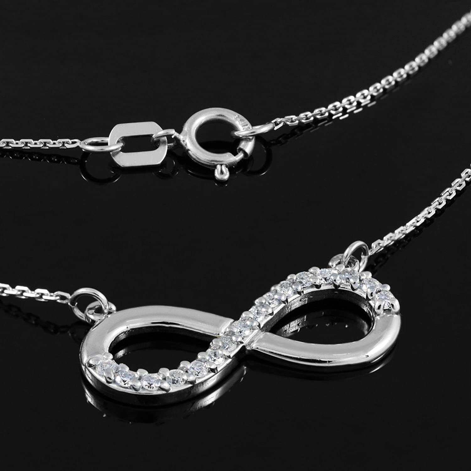 Amazon 14K White Gold Infinity Pendant Necklace with CZ