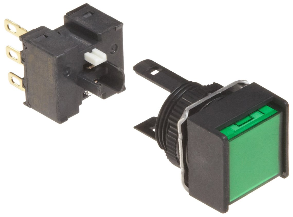 Omron A165-AGM-1 Two Way Guard Type Switch, Solder Terminal, IP65 Oil-Resistant, Non-Lighted, Square, Green, Momentary Operation, Single Pole Double Throw Contacts