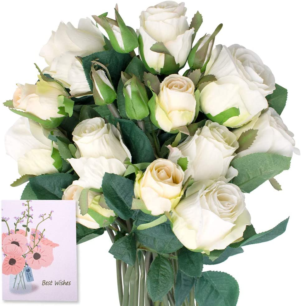 SNAIL GARDEN 18 Heads Artificial Rose Flower, Artificial Silk White & Champagne Rose Flowers with 1 Greeting Card for Home Office Wedding Party Winter Decoration & Festival Gift