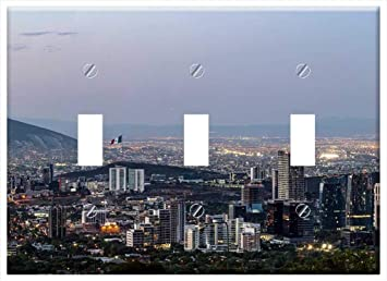 Switch Plate Triple Toggle Panorama Monterrey Mexico Sunset Twilight Dusk Amazon Com