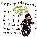 Mille Ti Rana ベビー フォト シーツ 寝相アート 赤ちゃん 成長記録 月齢 ステッカー セット (フラッグ)