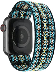 Tefeca Orchid Embroidery Pattern Elastic Compatible/Replacement Band for Apple Watch 38mm/40mm (Black Adapter, S fits Wrist Size : 6.0-6.5 inch)