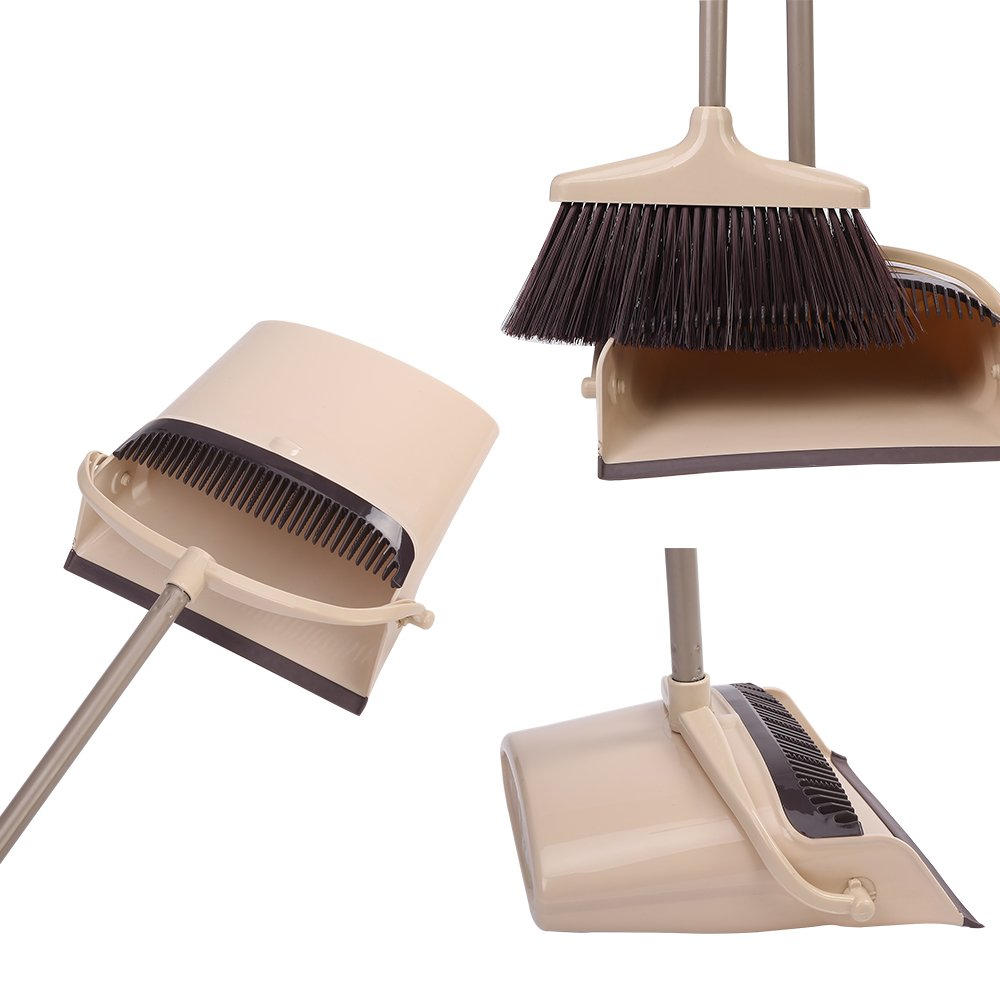 Dust pan and Broom Combo Artifact Standing Upright Foldable Set