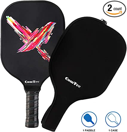 Pickleball Paddle, Graphite Pickleball Racquets Lightweight 8ounce Composite Core Sweat Absorbent Cushioned Grip Edge Guarded, Full Cover Case Ideal ...