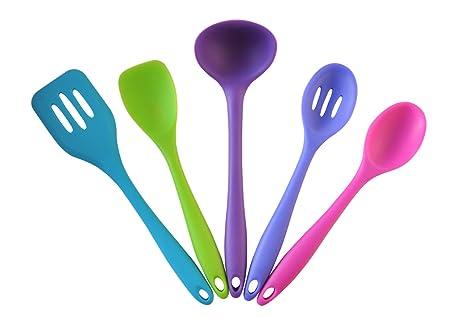 Amazon.com: SATURN HOUSE Premium Silicone Kitchen Tools Set, 5 Pc ...