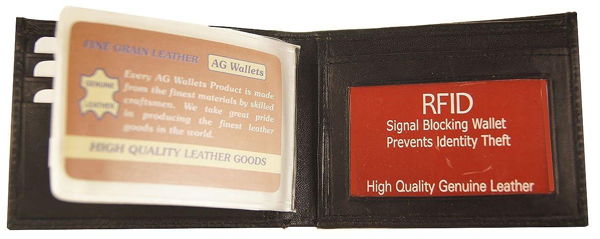 9411d6543ae3 AG Wallets RFID Signal Blocking Genuine Leather Bifold Mens Wallet(Black)