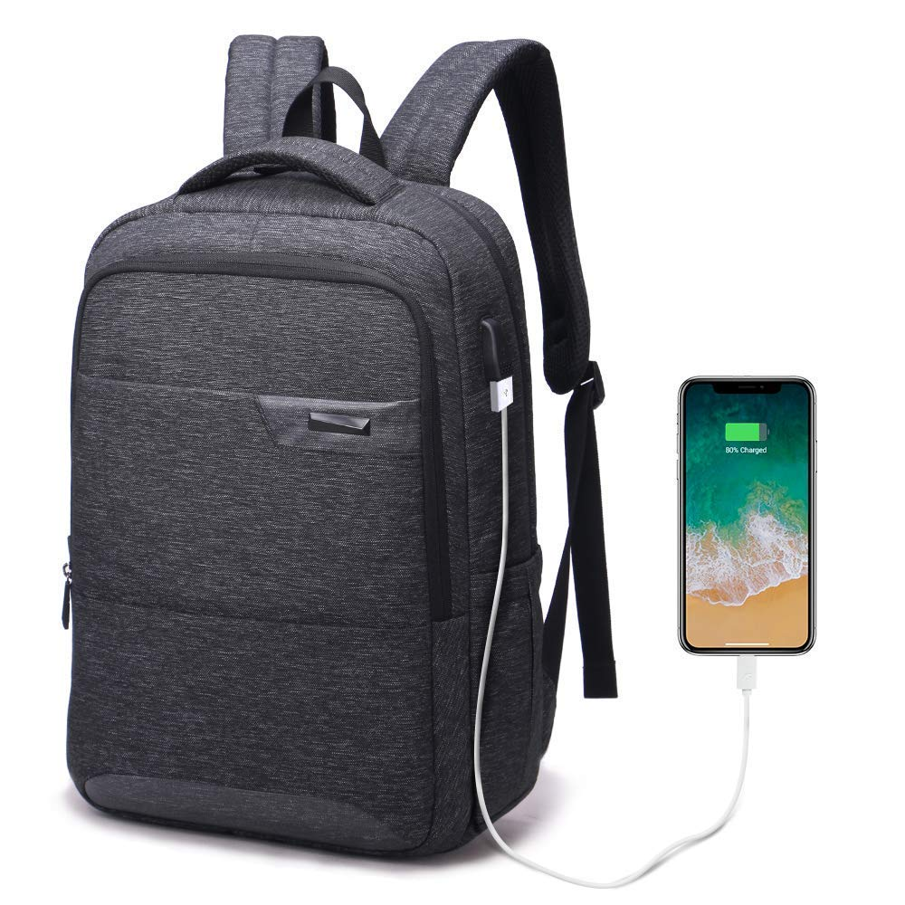 Laptop Backpack, Travel Waterproof Computer Bag for Women Men, Anti-Theft High School College Bookbag, Business Fashion Backpacks with USB Charging Port Fits Under 17.3inch Laptop&Notebook, Black