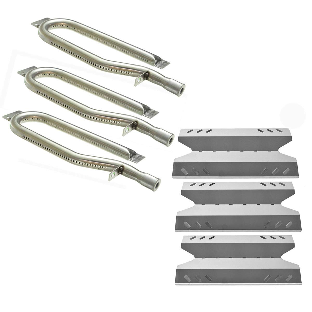Hisencn Gas Grill Repair Kit SS Burner, Non-Magnetic Stainless Steel Heat Plate Parts -3pack Replacement for Members Mark BQ05046-6, BBQ Pro, Sam's Club, Outdoor Gourmet