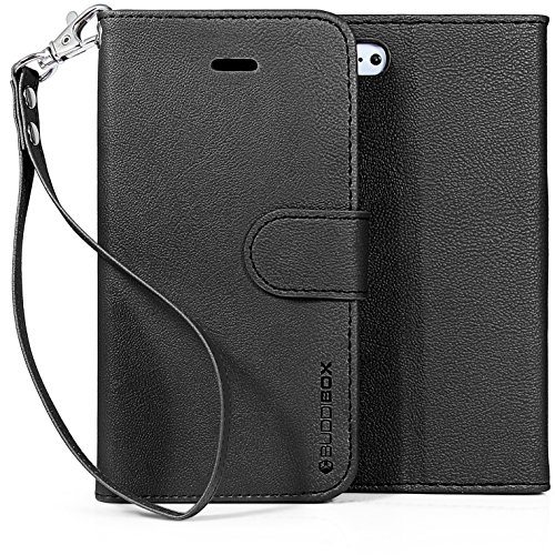 iPhone 5c Case, BUDDIBOX [Wrist Strap] Premium PU Leather Wallet Case with [Kickstand] Card Holder and ID Slot for Apple iPhone 5c, (Black)