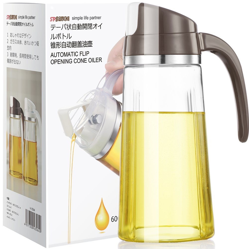Auto Flip Olive Oil Dispenser Bottle, Glass Vinegar Dispensing Cruets,20 OZ Leakproof Condiment Container With Automatic Cap and Stopper,Non-Drip Spout,Non-Slip Handle for Kitchen Cooking (Brown)