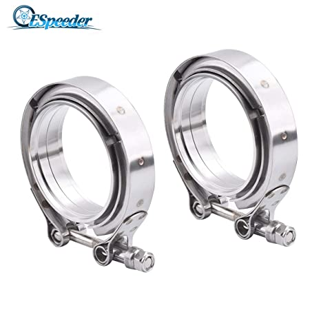 2pcs 2.5/'/'Durable Car Turbo Exhaust Downpipe V-Band Flange w//Quick Release Clamp
