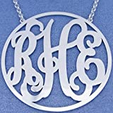 Silver Monogrammed 3 Initials 2 Inch Large Circle Personalized Monogram Necklace SM46C