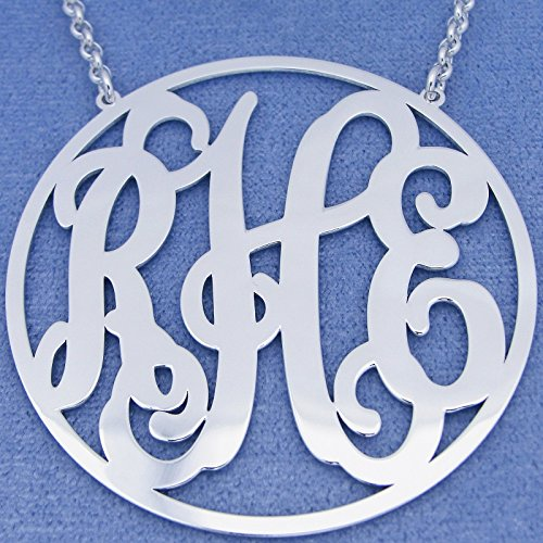 Silver Monogrammed 3 Initials 2 Inch Large Circle Personalized Monogram Necklace SM46C by Soul Jewelry Inc