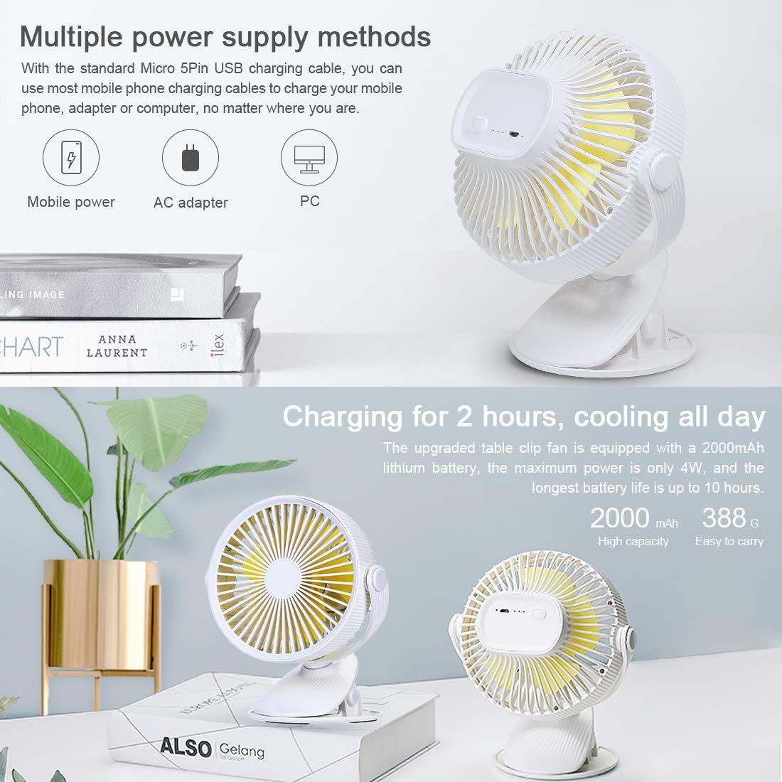 Gocheer Tisch Ventilator leise Kleiner,Ø 15cm 2000mAh 9W Ventilator nachtmodus,Grow lüfter Cooling Fan standventilator leise Schlafzimmer Ventilator Turm weiß für Büro, Schlafzimmer, Camping