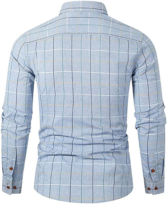 Domple Mens Multicolor Plus Size Warm Long Sleeve Button Up Slim Fleece Shirt with Pocket