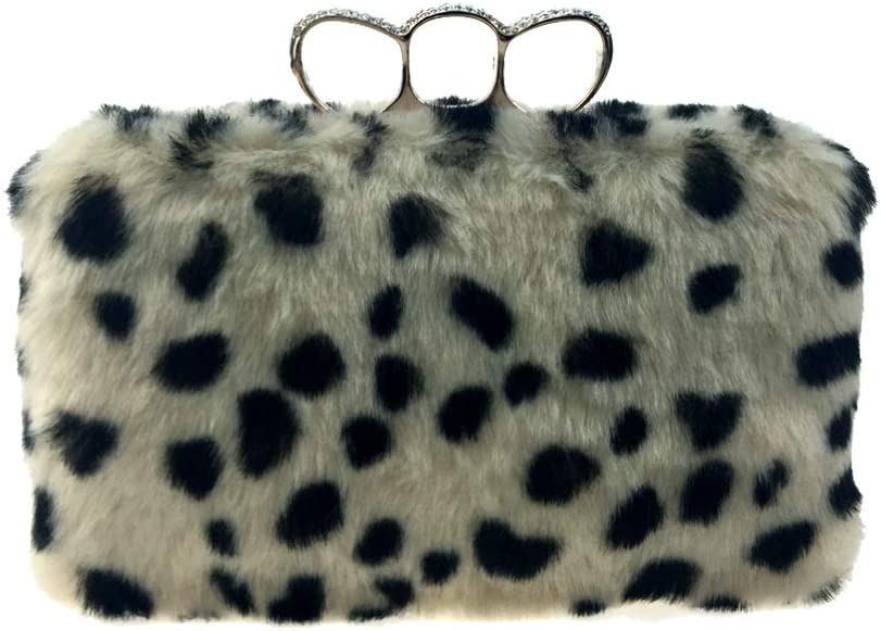 GSYDXKB Abend Party Tasche Cocktail Party Perle Tasche Three-Finger Furry Leopard Clip Bag Imitation Rabbit Hair Evening Dress Grass Fashion Handbag high-Grade Furry Bag