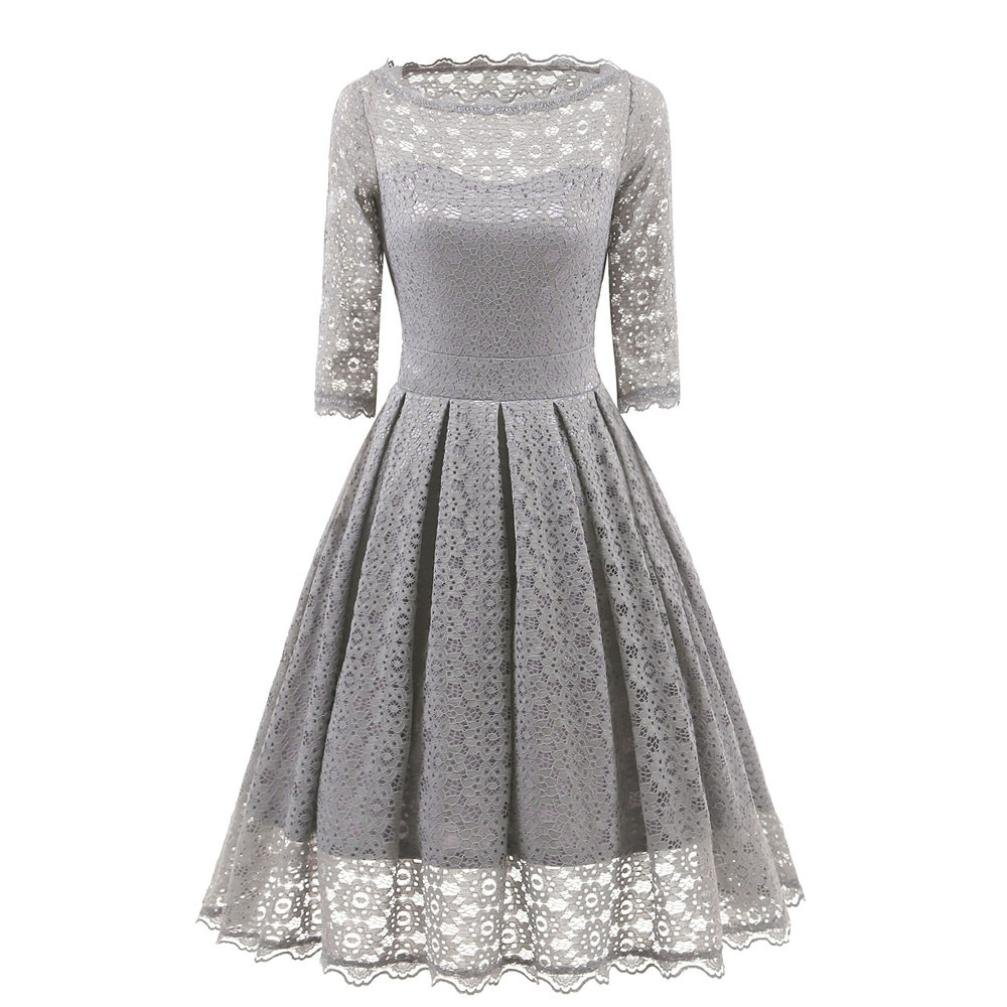 Women Long Dress Daoroka Women's Sexy New Vintage Lace Half Sleeve Formal Patchwork Wedding Dress Cocktail Retro Swing Evening Party Skirt Fit Flare Ladies Casual Fashion Gift Fit Dress (L, Gray)