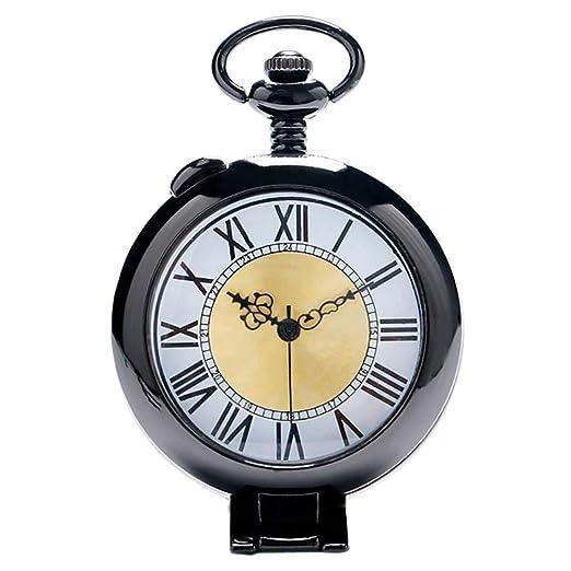 Reloj de Bolsillo de Cuarzo con números Romanos, Color Negro, Vintage, para Hombres y Mujeres, Reloj de Bolsillo Jlyshop: Amazon.es: Relojes