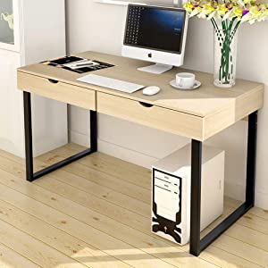 Computer Desk with Drawers,Modern Computer Table,Home Office Writing Desk,Space Saving Desktop Computer Desk Office Table Creamy-White 100x48x74cm(39.4x18.9x29.1inch)