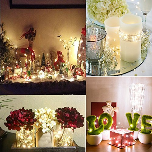 2 x Fairy Lights Battery Operated, Silver Wire Chains 8 Mode 5M 50 LEDs Timer String Lights with Remote Control for Bedroom Christmas Party Wedding Decoration (Warm White)