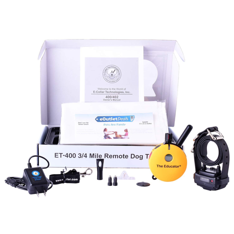Educator E-Collar ET-400 / ET-402 Dog Training Collar System with Remote - 3/4 Mile Range - Waterproof, Vibration, Tapping, Sensation - Bonus eOutletDeals Pet Towel (1 Dog System - ET-400) by Ecollar