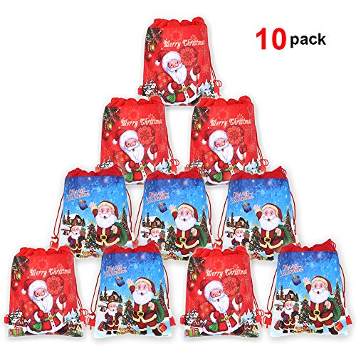 Christmas Drawstring Backpack Bags(10pack), Konsait Xmas Santa Sack Backpack for Kids Party Bag Filler Wrapper and Candy Gift Treat Goody Christmas Birthday Party Favor Supplies -