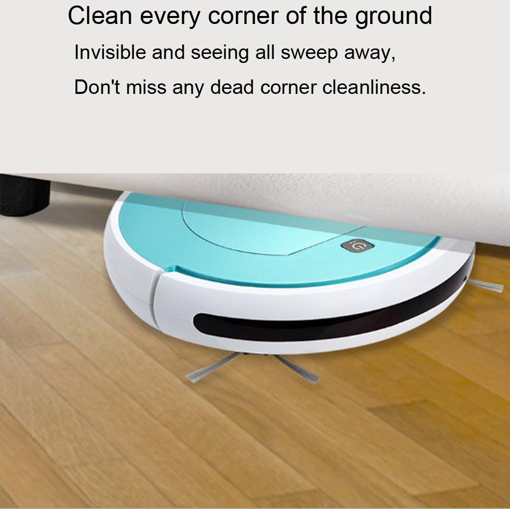 WZG Robot Aspirador Clean Aspirador con Tecnología De Detección De Caída Y Aspiración Potente,Aspirador Escoba para Suelo Duro Y Alfombra De Baja Altura ...
