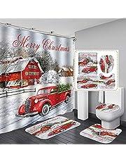 MORESAVE Christmas Shower Curtain Sets, 4 Pcs Xmas Shower Curtain/Non-Slip Bathroom Rugs/Lid Toilet Cover/Bath Mat, Santa Claus Elk Snowman Christmas Bathroom Decor Home Holiday Decorations Gifts