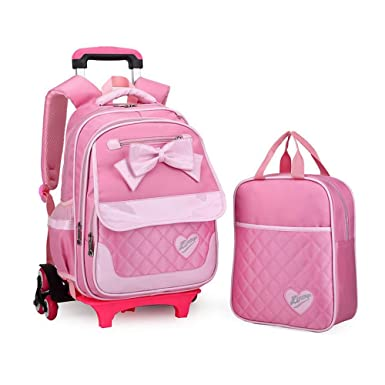 YUB Lovely School Bags Rolling Backpacks for Girls Trolley Luggage with  Lunch Bag Removable Pink with 6602e6cb5c