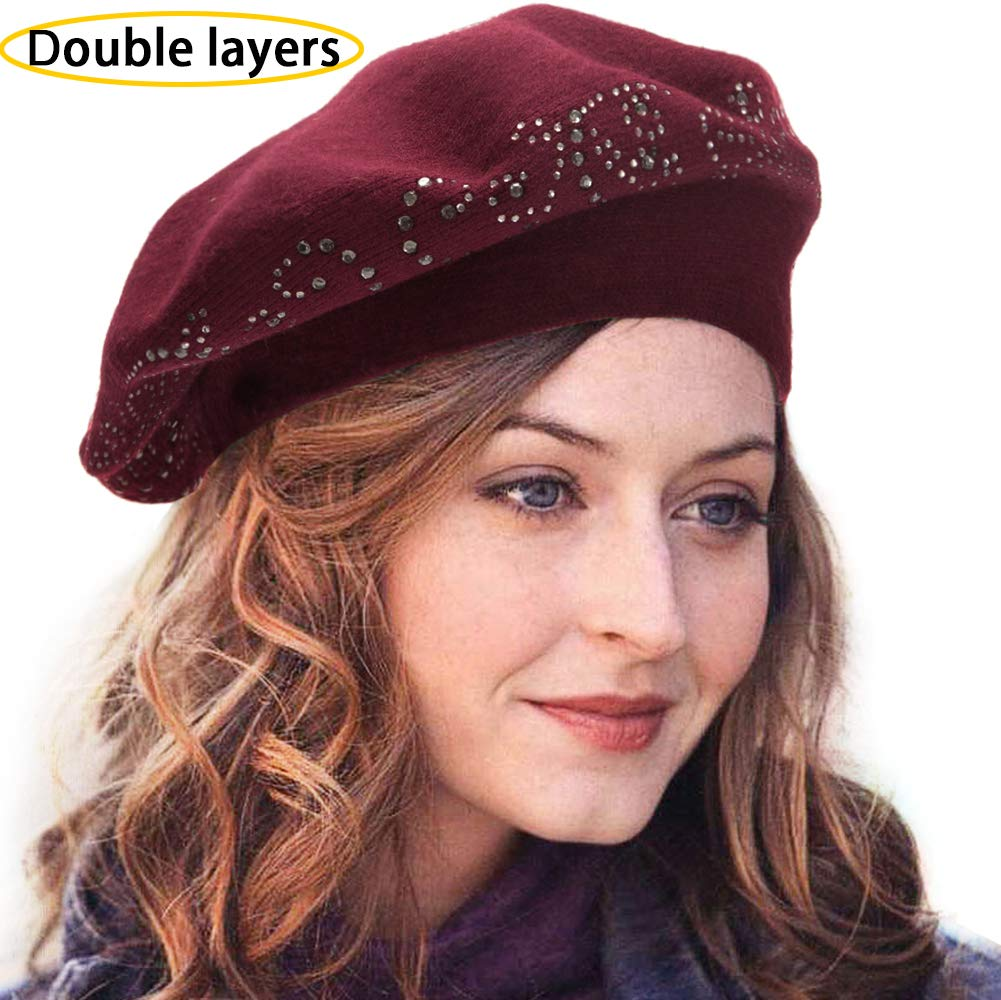 db9e8ce6b51 LADYBRO Wool Berets Knitted Hats for Women Caps Knit Womens Beret Artists  Painting Wine