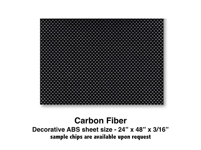 "Carbon Fiber ABS Plastic Sheet for boat Instrument Panels 24"" X 48"" X 3/16"""