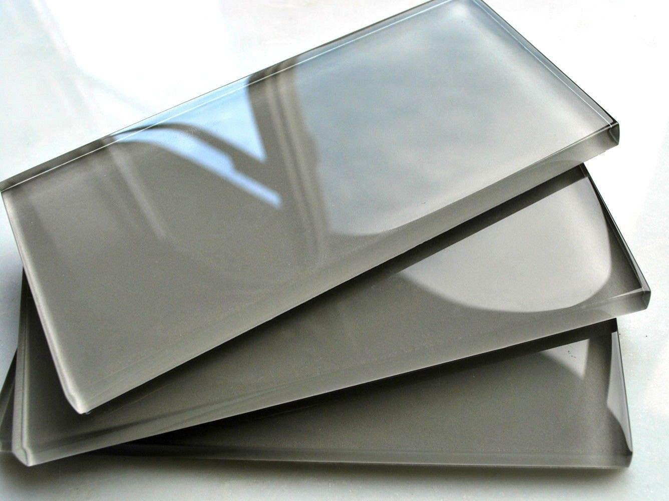 - 3x6 Cool Gray Subway Clear Glass Tile Backsplash Wall (Sold By The