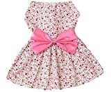 New Spring Summer Pet Dog Skirt Lady Dog Dress Floral Skirt Small Dog Princess Bow Dress Pink S by KUANG YANZI