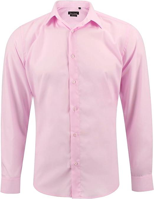 Camisa Slim fit Rosa para Hombre con Manga Larga: Amazon.es: Ropa y accesorios
