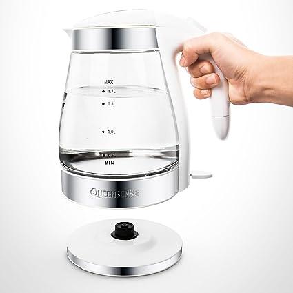 CAIXIA Agua Pot y Hervidor Calentador eléctrico Mini cristal transparente PP + 304 Calentador de acero