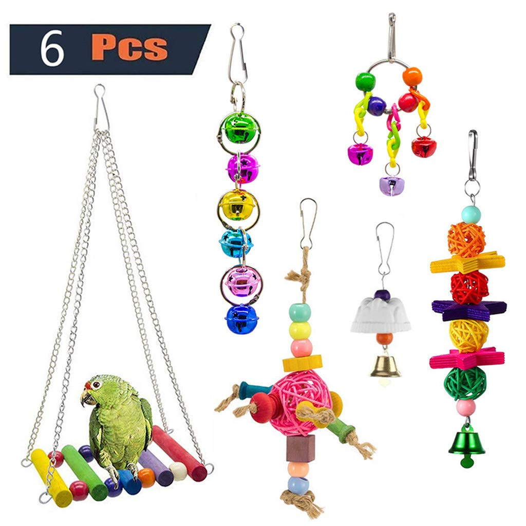 Bird Toy for Parrot,Bird Toy Bell Swing Bird Cage Pendant Colorful Bridge Pet 6PC Combination Suit for Small Parakeets Cockatiels, Conures, Macaws, Parrots, Love Birds, Finches
