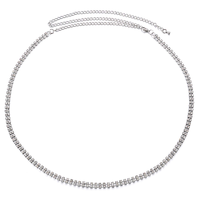 79cm plata 2 FILAS Estrás Cinturón para mujer mujer chica PEDRERÍA/Diamante Con Elegante Cierre Para Informal Fiesta Y Ropa Formal De WEDDING Decor