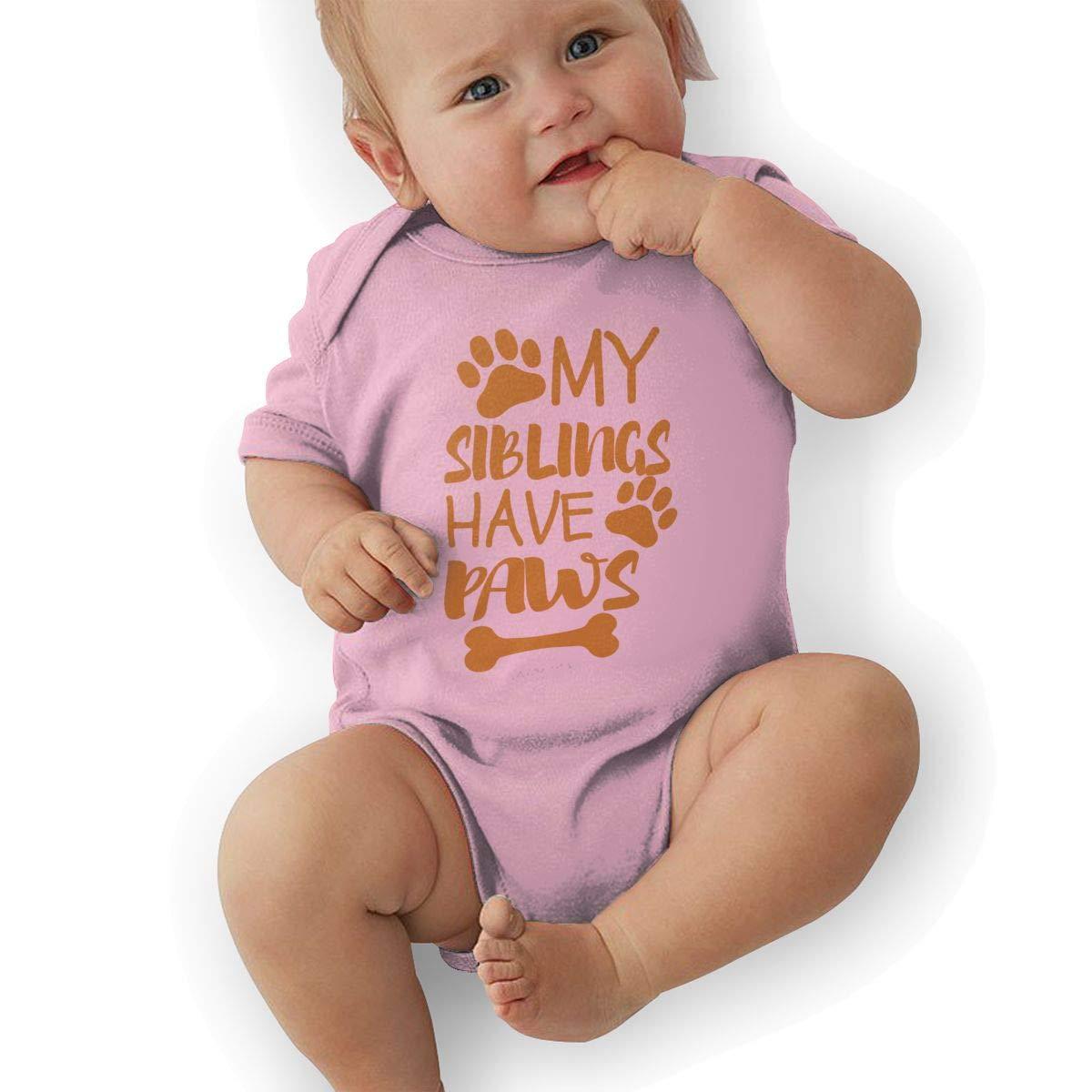 My Siblings Have Paws Hip Hop Newborn Baby Short Sleeve Bodysuit Romper Infant Summer Clothing Black