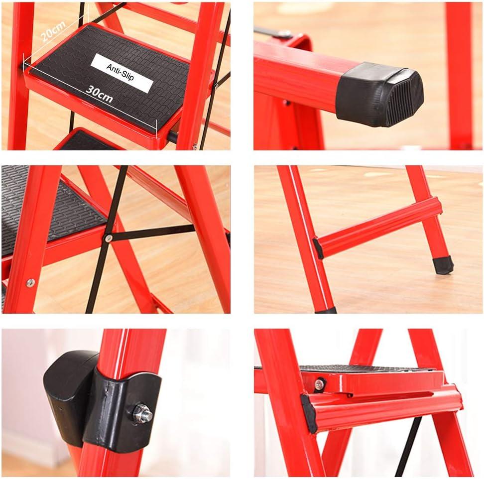 330 lbs Kapazit/ät rote Haushalts-Trittleiter SSCYHT Klappbare Trittleiter Tragbare Stahlleiter mit Schwammhandgriff und breitem Pedal