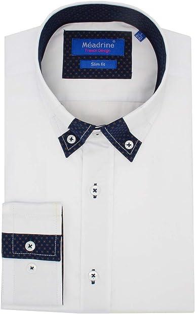 Meadrine - Camisa Blanca y Motivos Blanco M: Amazon.es: Ropa ...