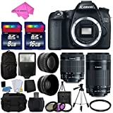 Canon EOS 70D Digital SLR Camera Full HD 1080p Video + EF-S 18-55mm F3.5-5.6 IS STM + 55-250mm STM IS Lens + 58mm 2x Lens + Wide Angle Lens + Auto Power Flash + Uv Filter Kit + Free Accessory Bundle