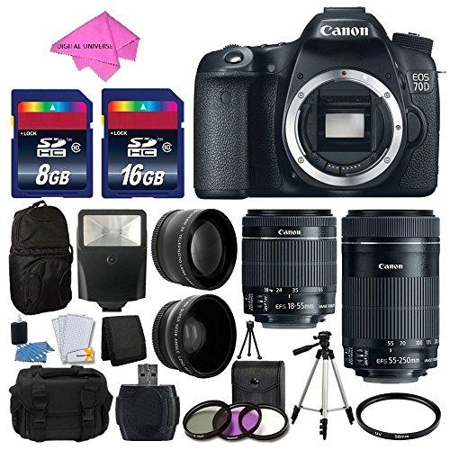 Canon EOS 70D Digital SLR Camera Full HD 1080p Video + EF-S 18-55mm F3.5-5.6 IS STM + 55-250mm STM IS Lens + 58mm 2x Lens + Wide Angle Lens + Auto Power Flash + Uv Filter Kit + Free Accessory Bundle