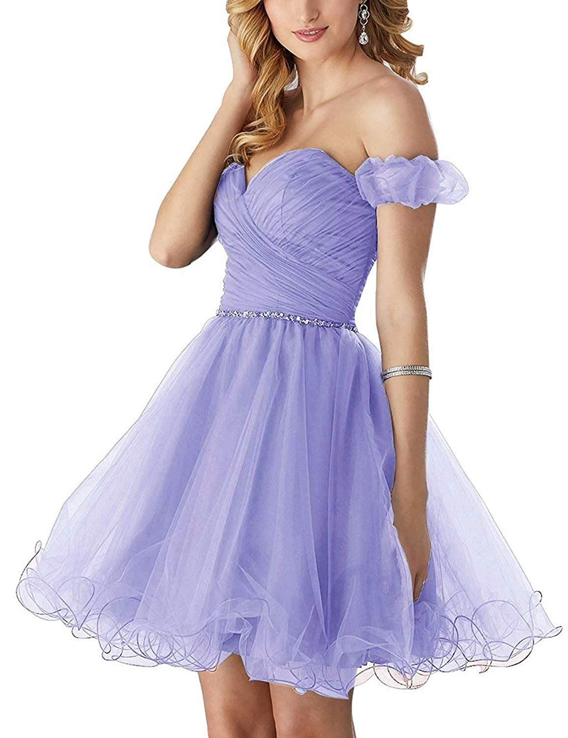 purplec Vimans Short Tulle Homecoming Dresses 2018 Off Shoulder Formal Prom Dress H129