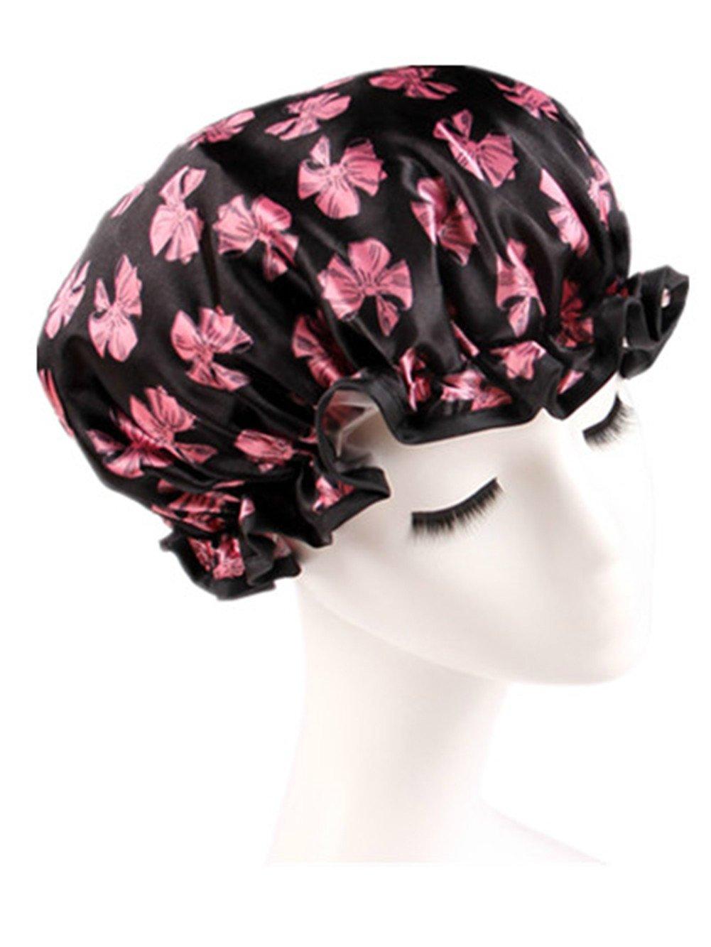 Moolecole Mode Femmes Polka Dots Double Layer Bonnet De Douche Elastic Band Shower Cap Spa Bonnet De Bain Rose