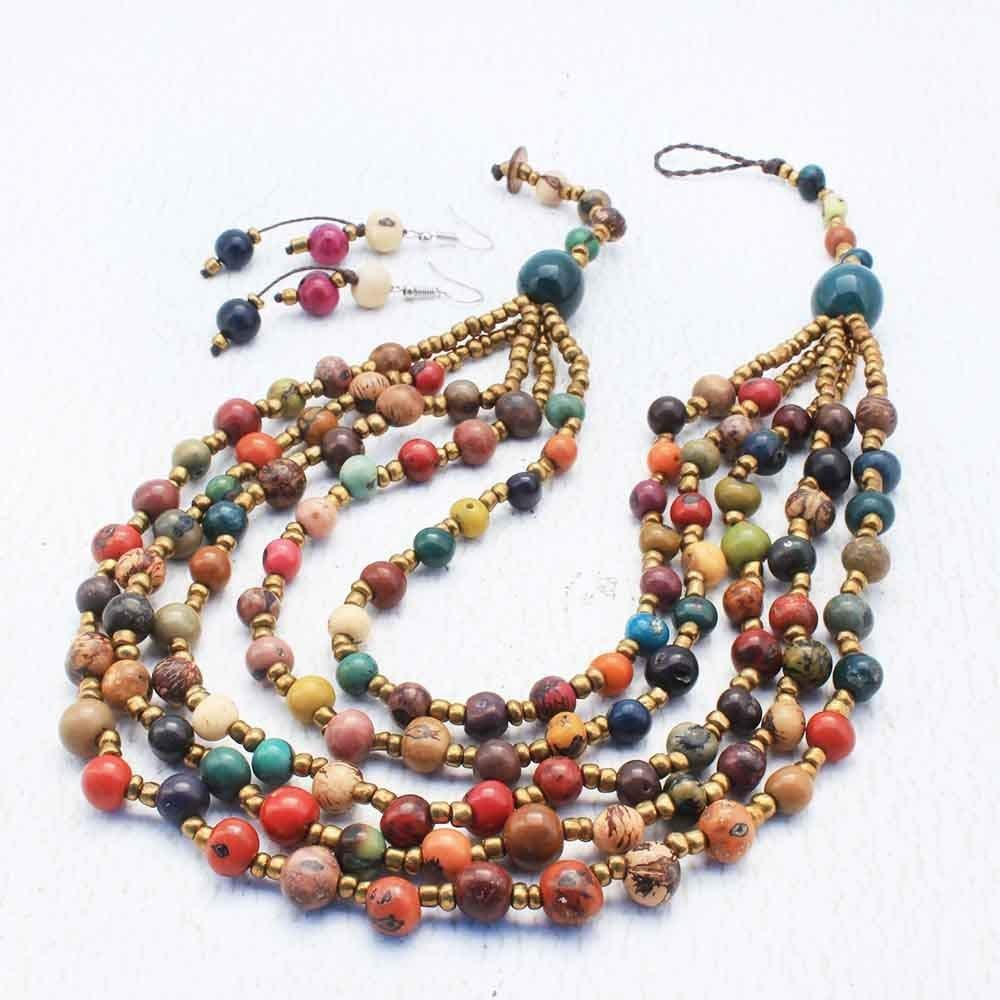 B015TMECUW Multi Colored 5 Strand Bib Necklace and Earring Set with Acai Seeds, Handmade Artisan Tribal Jewelry for Women 61jshfOivVL