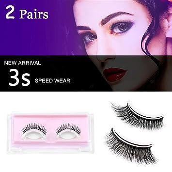 96d42d2e3b1 2 Pairs Self-Adhesive False Eyelashes, Vibury 3D Reusable Handmade Natural  Look Fake Lashes