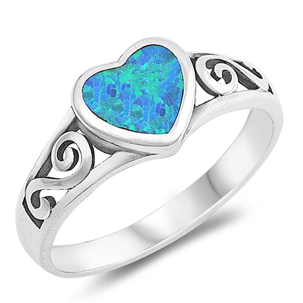 Sterling Silver Simulated Blue Opal Heart Ladies Ring 8mm (Size 5 to 10), 5