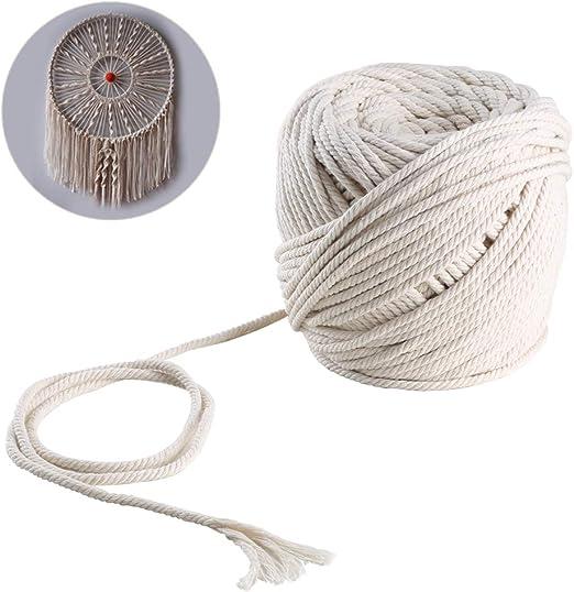 Nahuaa Cuerda Cordel de Algodón Natural 100m Cuerda de Hilo Macramé Cordón de 4mm DIY para Decoración de Boda Pared Plantas Colgantes Tapicería Alfombra Tejido de Punto: Amazon.es: Hogar