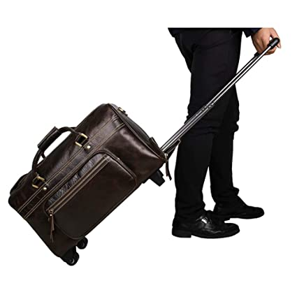 266b7685125b Amazon.com : YANJINGHONG Rolling Duffel Bag Mens Genuine Leather ...